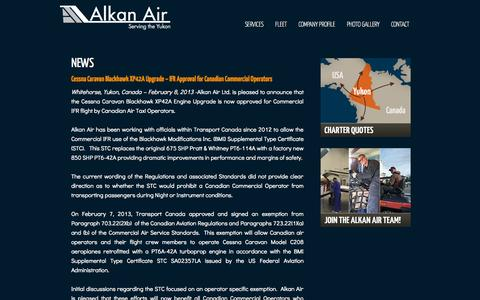 Screenshot of Press Page alkanair.com - News - captured Oct. 4, 2014