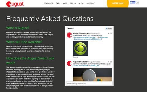 Screenshot of FAQ Page august.com - August Smart Lock FAQ - captured Oct. 31, 2014