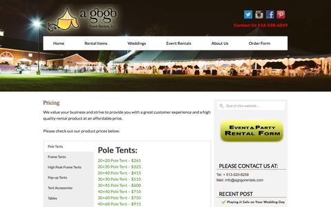 Screenshot of Pricing Page agogorentals.com - Cincinnati Party Rental Product Pricing - A Gogo Rentals - captured Oct. 2, 2014