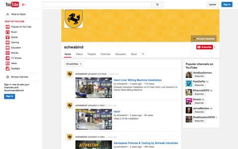 Screenshot of YouTube Page youtube.com - schwabind  - YouTube - captured Oct. 23, 2014