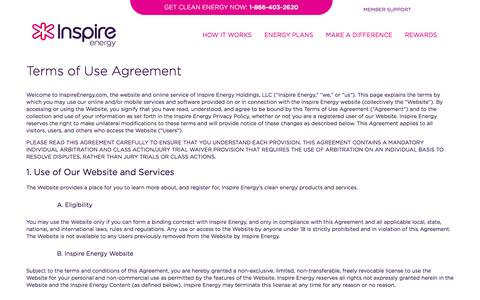 Screenshot of Terms Page inspireenergy.com - Inspire Energy | Terms of Use - captured Sept. 16, 2014
