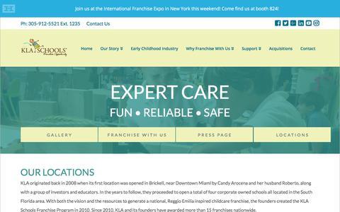 Screenshot of Locations Page klaschoolsfranchise.com - Our Story | KLA Schools Franchise - captured Aug. 1, 2018