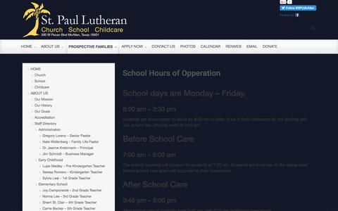Screenshot of stpaulmcallen.org - St. Paul Lutheran School - School Hours of Opperation - - captured April 23, 2016