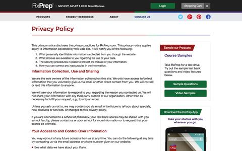 Screenshot of Privacy Page rxprep.com - Privacy Policy - captured Sept. 29, 2016