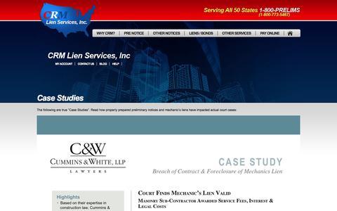 Screenshot of Case Studies Page crmlsi.com - Preliminary Notice and Mechanic's Lien Case Studies   Preliminary Notices - Mechanics Liens - Notice to Owner - captured July 10, 2017