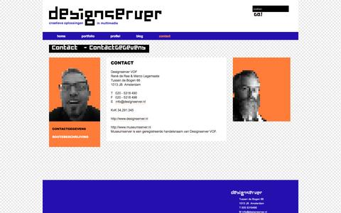 Screenshot of Contact Page designserver.nl - ContactGeGevens - Designserver - captured June 2, 2016