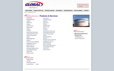 Screenshot of Products Page globalp.com - Products & Services - Global Partners LP - captured Oct. 2, 2014