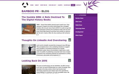 Screenshot of Blog bamboopr.co.uk - Bamboo PR - captured July 28, 2016