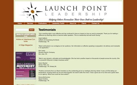 Screenshot of Testimonials Page launchpointleadership.com - Testimonials  | LaunchPoint Leadership - captured Sept. 29, 2014