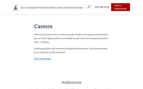 Screenshot of Jobs Page cabotlinks.com - Careers at Cabot Links in Cape Breton | Cabot Links - captured July 15, 2018