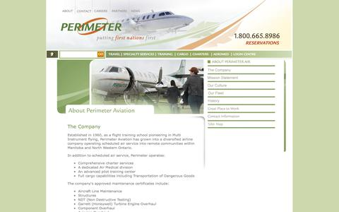Screenshot of About Page perimeter.ca - Perimeter Aviation- About - captured Oct. 2, 2014
