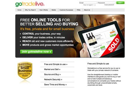 Screenshot of Home Page About Page Privacy Page Contact Page Press Page FAQ Page Terms Page Team Page gotradelive.com - gotradelive - Drive profit and growth with your own free targeted trade tool - captured Sept. 30, 2014