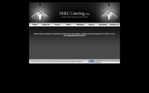 Screenshot of Menu Page nhlccatering.com - New Haven Lawn Club - captured Oct. 7, 2014