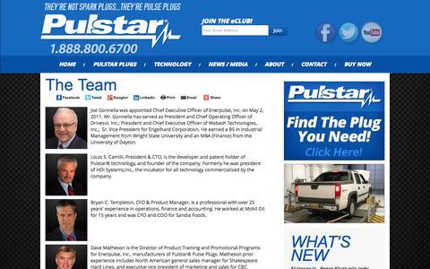 Screenshot of Team Page pulstar.com - Pulstar : Bigger Spark | More Power | Longer Life - captured Sept. 16, 2014