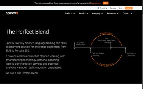 Screenshot of Products Page speexx.com - Smart Learning Solutions in the Cloud for Your Global Workforce - captured Sept. 21, 2018