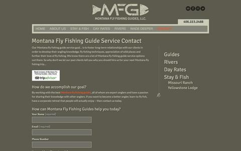 Screenshot of Contact Page montanaflyfishingguides.com - Montana Fly Fishing Guide Service contact us todayMontana Fly Fishing Guides, LLC. - captured Feb. 14, 2016