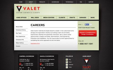 Screenshot of Jobs Page valetcustom.com - Career Opportunities at Valet Custom Cabinets & Closets - captured Oct. 27, 2014