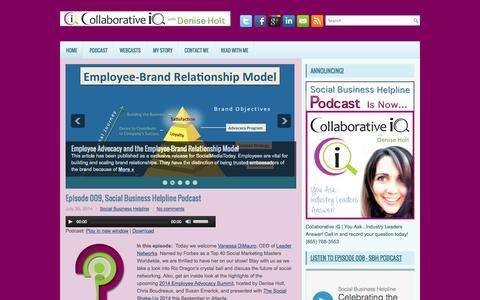 Screenshot of Home Page deniseholt.com - SOCIAL INTEL with Denise Holt - captured Oct. 7, 2014