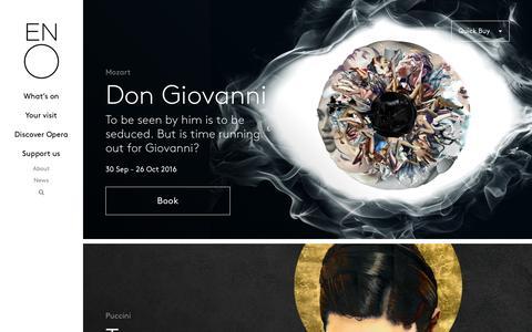 Screenshot of Home Page eno.org - Home | English National Opera - captured Aug. 30, 2016