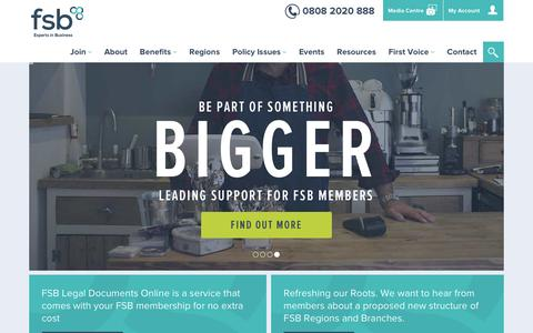 Screenshot of Home Page fsb.org.uk - FSB, The Federation of Small Businesses - captured Nov. 10, 2016