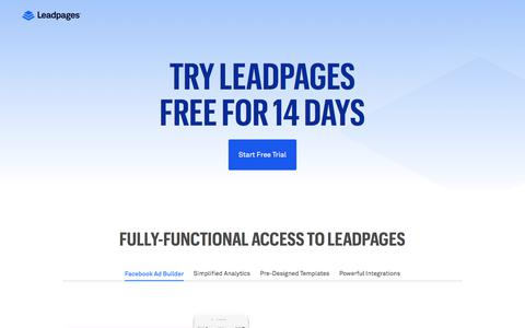 Screenshot of Trial Page leadpages.net - Try Leadpages® For Free - 14 Day Trial - captured April 23, 2018