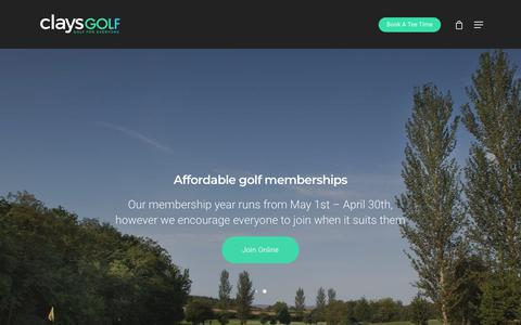 Screenshot of Home Page claysgolf.co.uk - Clays Golf Course Wrexham | Driving Range & American Golf Store - captured July 18, 2018