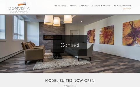 Screenshot of Contact Page domvista.ca - Contact —  Domvista Condos in West Bedford-Halifax, Nova Scotia - captured Nov. 14, 2018