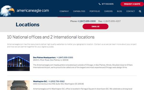 Screenshot of Locations Page americaneagle.com - Locations for Website Design and Development | Americaneagle.com - captured March 1, 2018