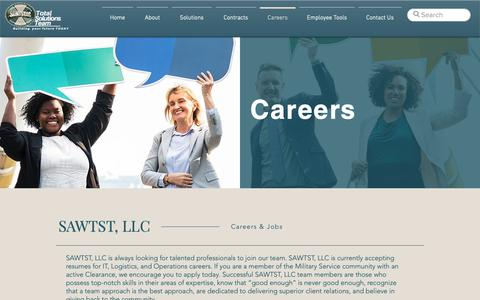 Screenshot of Jobs Page sawtst.com - Careers | SAWTST, LLC - captured March 21, 2019