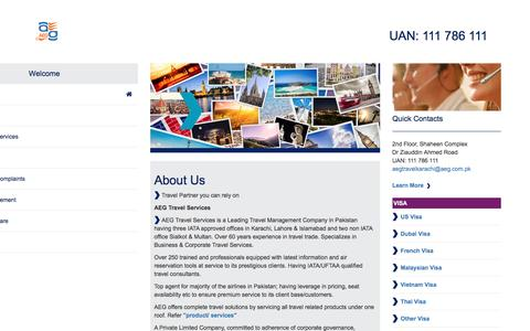 Screenshot of About Page aeg.com.pk - Travel Partner you can rely on - captured Oct. 7, 2016