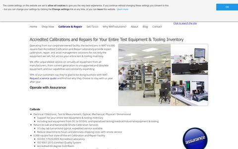 Screenshot of Services Page matsolutions.com - Test Equipment Repair & Calibration Services | MATsolutions - captured Nov. 5, 2018