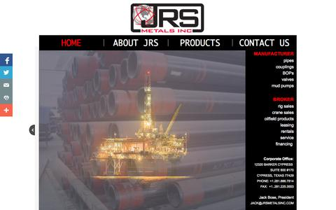 Screenshot of Home Page jrsmetalsinc.com - Home - captured Oct. 6, 2014