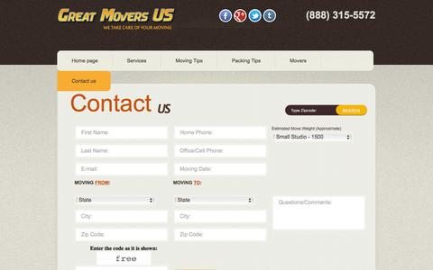 Screenshot of Contact Page greatmoversus.com - Great Movers US - Contact Us - captured March 29, 2016
