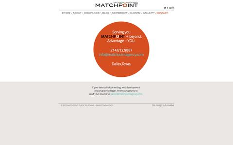 Screenshot of Contact Page matchpointagency.com - Matchpoint Public Relations + Marketing Agency | Matchpoint Public Relations + Marketing Agency - captured Sept. 30, 2014