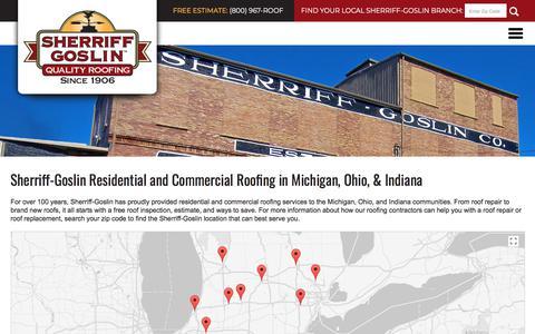 Screenshot of Locations Page sherriffgoslin.com - Sherriff-Goslin l Roof Repair & Roof Replacement - captured Nov. 16, 2017