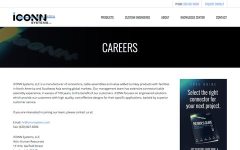 Screenshot of Jobs Page iconnsystems.com - Careers | iCONN Systems - captured April 26, 2018