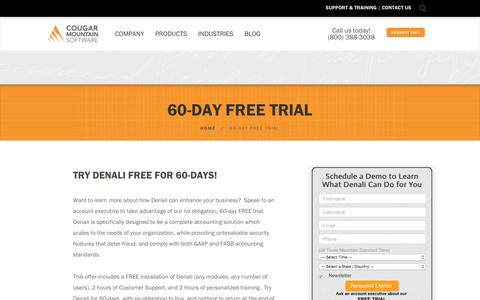 Screenshot of Trial Page cougarmtn.com - 60-Day Free Trial - for Nonprofits, Public Services and Manufacturing - captured Feb. 10, 2018
