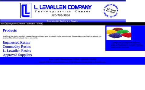 Screenshot of Products Page llewallen.com - Products - captured Oct. 1, 2014