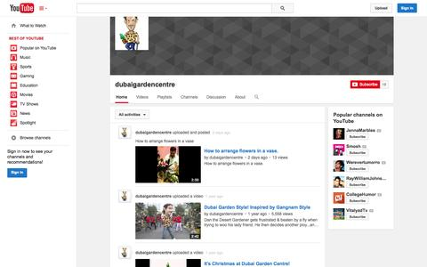Screenshot of YouTube Page youtube.com - dubaigardencentre  - YouTube - captured Oct. 23, 2014