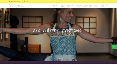 Screenshot of Home Page moar-fit.com - MOARfit | Yoga, Nutrition and Total Wellness by Amy Rizzottto - captured Sept. 12, 2015