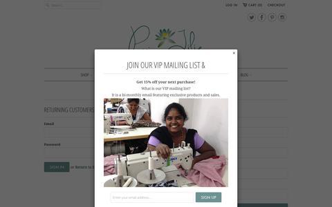 Screenshot of Login Page passionlilie.com - Account - Passion Lilie - captured Dec. 7, 2015