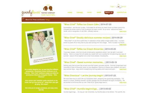 Screenshot of Blog goodytwos.com - GoodyTwos Toffee Company : Blog - captured Oct. 27, 2014