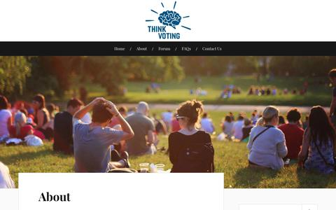 Screenshot of About Page thinkvoting.com - About – Think Voting - captured Nov. 19, 2018