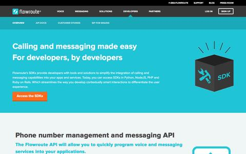 Screenshot of Developers Page flowroute.com - Developers «  Flowroute – APIs for Text Messaging & Voice - captured Aug. 4, 2016