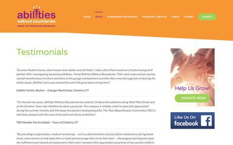 Screenshot of Testimonials Page abilitieswithoutboundaries.org - Testimonials - Abilities Without Boundaries - captured July 28, 2018