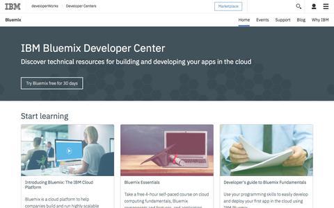 Screenshot of Developers Page ibm.com - Bluemix Dev - captured July 28, 2017