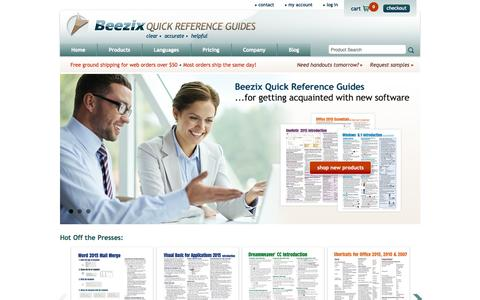 Screenshot of Home Page beezix.com - Office 2013, 2010 Quick Reference Guides & Cards, Outlook, Excel, Lync Laminated Reference Cards - Beezix - captured Oct. 5, 2014
