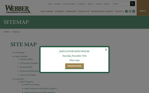 Screenshot of Site Map Page webber.edu - Sitemap | Webber International University - captured Oct. 19, 2017