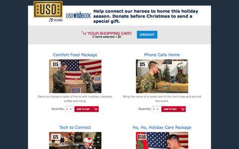 Screenshot of Landing Page uso.org - USO Wishbook | USO.org - captured Dec. 15, 2016