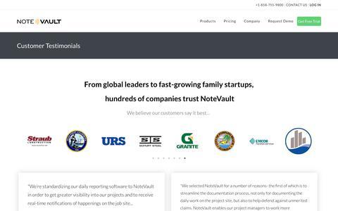 Screenshot of Testimonials Page notevault.com - Customer Testimonials - NoteVault - captured June 8, 2019